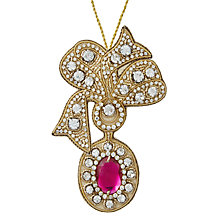 Buy Tinker Tailor Ostravia Bow & Gem Brooch Tree Decoration, Fuschia Online at johnlewis.com
