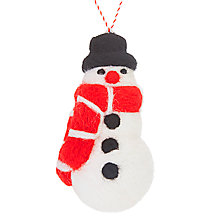 Buy John Lewis Grand Tour Felt Snowman With Red Scarf Tree Decoration Online at johnlewis.com