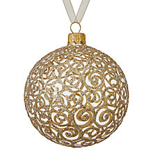 Buy John Lewis Ostravia Glitter Swirl Bauble, Gold Online at johnlewis.com