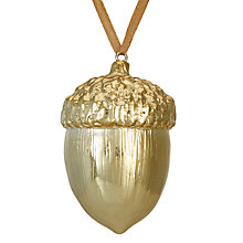 Buy John Lewis Ruskin House Acorn Bauble, Gold Online at johnlewis.com