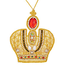 Buy Tinker Tailor Jewelled Crown Tree Decoration, Gold Online at johnlewis.com