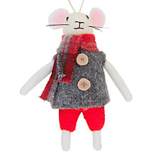 Buy John Lewis Grand Tour Christmas Mouse Tree Decoration, Grey Online at johnlewis.com
