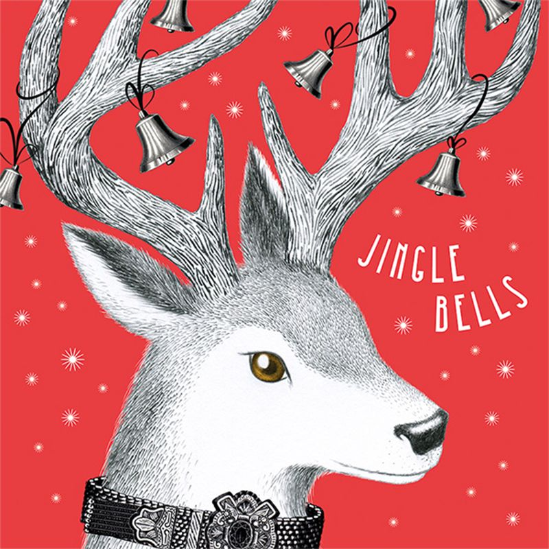 Art File Art File Jingle Bells Deer Charity Christmas Cards, Pack of 6, Red