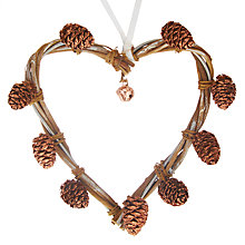 Buy John Lewis Helsinki Heart Pinecone Wreath Tree Decoration Online at johnlewis.com