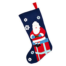 Buy John Lewis Grand Tour Santa Stocking, Navy Online at johnlewis.com