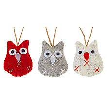 Buy John Lewis Grand Tour Knitted Owl Tree Decorations, Pack of 6 Online at johnlewis.com