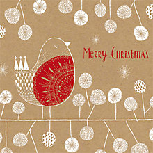 Buy Artfile Kraft Merry Robin Charity Christmas Cards, Pack of 6 Online at johnlewis.com
