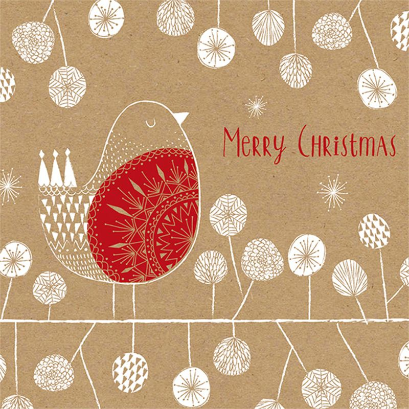 Art File Art File Kraft Merry Robin Charity Christmas Cards, Pack of 6