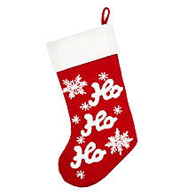 Buy John Lewis Grand Tour Ho Ho Ho Stocking With Fur Cuff, Red / White Online at johnlewis.com