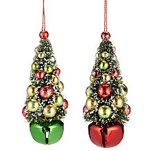 Buy John Lewis Jingle Bell Trees Decoration, Set of 2, Green / Red Online at johnlewis.com