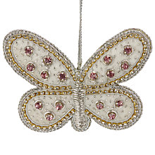 Buy Tinker Tailor Ostravia Jewelled Butterfly Tree Decoration, Sugar Pink Online at johnlewis.com