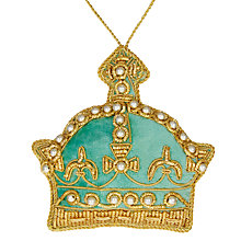 Buy Tinker Tailor Ostravia Velvet Crown Tree Decoration, Mint Online at johnlewis.com