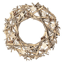 Buy John Lewis Ruskin House Birch Star And Cone Wreath, Natural Online at johnlewis.com