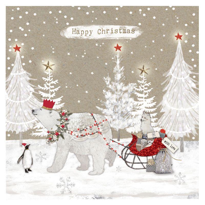 Hammond Gower Hammond Gower Polar Bear & Sleigh Charity Christmas Cards, Pack of 5