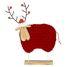 Buy John Lewis Chamonix Woolly Christmas Sheep Decoration, Red Online at johnlewis.com