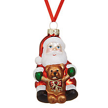 Buy John Lewis Santa With Bear Bauble Online at johnlewis.com
