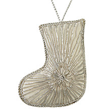 Buy John Lewis Snowshill Embroidered Stocking Bauble, Silver Online at johnlewis.com
