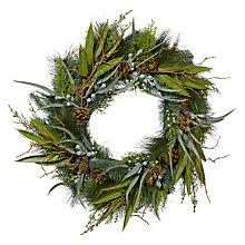 Buy John Lewis Snowshill Pre-lit Eucalyptus Wreath Online at johnlewis.com