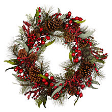 Buy John Lewis Ruskin House Premium Cedar And Berry Wreath Online at johnlewis.com