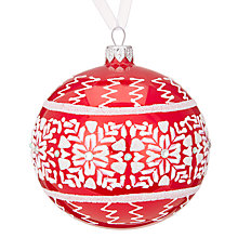 Buy John Lewis Chamonix Large Zig Zag Glitter Bauble, Red / White Online at johnlewis.com