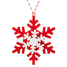 Buy John Lewis Chamonix Layered Snowflake Tree Decoration, Red / White Online at johnlewis.com