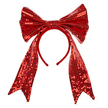 Buy John Lewis Glitter Bow Headband, Red Online at johnlewis.com