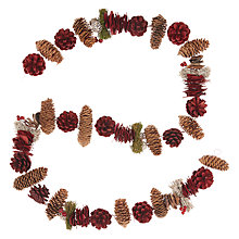 Buy John Lewis Ruskin House Pinecone & Moss Garland, Red Online at johnlewis.com