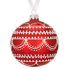 Buy John Lewis Chamonix Scalloped Bauble, Red / White Online at johnlewis.com