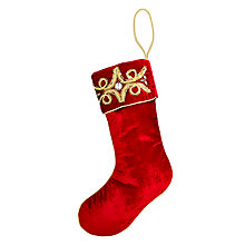 Buy Joanna Buchanan Ruskin House Velvet Embroidered Stocking, Red Online at johnlewis.com