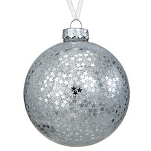 Buy John Lewis Snowshill Confetti Stars Bauble, Silver Online at johnlewis.com