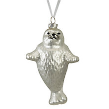 Buy John Lewis Snowshill Seal Bauble, Silver Online at johnlewis.com