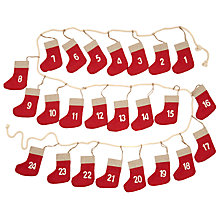 Buy John Lewis Stocking Advent Calendar Garland, Red Online at johnlewis.com
