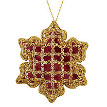 Buy Tinker Tailor Ruskin House Velvet Snowflake Tree Decoration, Wine Online at johnlewis.com