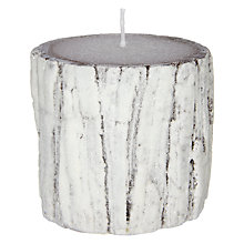 Buy John Lewis Snowshill Snow Bark Pillar Candle, White Online at johnlewis.com