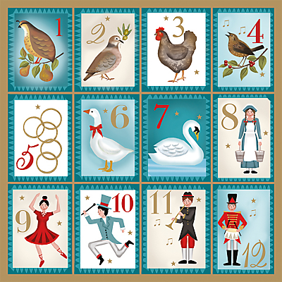 Product photo of Museums and galleries twelve days of christmas charity christmas cards pack of 5