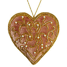 Buy Tinker Tailor Ostravia Pearl Heart Tree Decoration, Sugar Pink Online at johnlewis.com