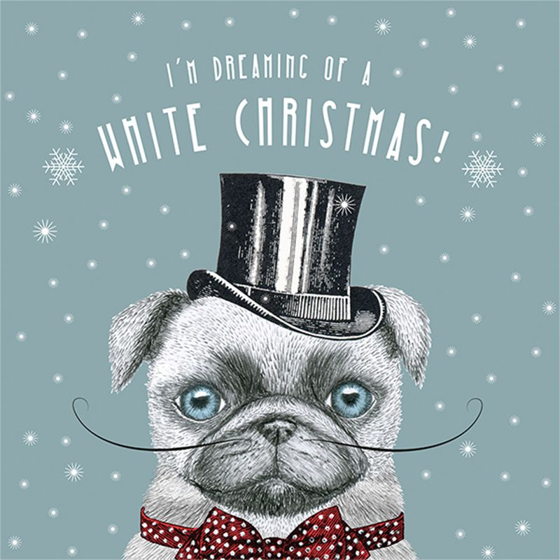 Art File Art File White Christmas Pug Charity Christmas Cards, Pack of 6