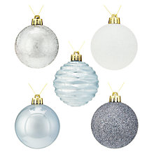 Buy John Lewis Snowshill Shatter-Proof Baubles, Tray of 20 Online at johnlewis.com