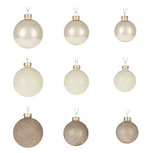 Buy John Lewis Ostravia Glass Baubles,Champagne, Box of 42 Online at johnlewis.com