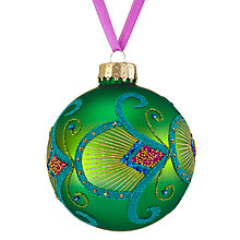 Buy John Lewis Shangri-La Peacock Bauble, Green Online at johnlewis.com