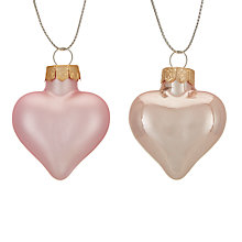 Buy John Lewis Ostravia Mini Hearts Baubles, Set of 12 Online at johnlewis.com
