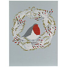 Buy John Lewis Wreath Robin Charity Christmas Cards, Pack of 6 Online at johnlewis.com