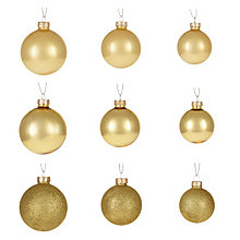 Buy John Lewis Ruskin House Glass Baubles, Gold, Box of 42 Online at johnlewis.com