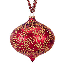 Buy John Lewis Ruskin House Leaf Onion Bauble, Red / Gold Online at johnlewis.com
