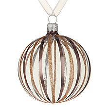 Buy John Lewis Helsinki Copper Glitter Stripe Bauble, Clear Online at johnlewis.com