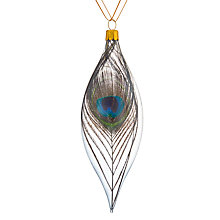 Buy John Lewis Shangri-La Peacock Feather Finial Bauble, Clear Online at johnlewis.com