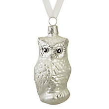 Buy John Lewis Snowshill Owl Bauble, Silver Online at johnlewis.com