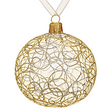 Buy John Lewis Helsinki Gold Swirl Bauble, Clear Online at johnlewis.com