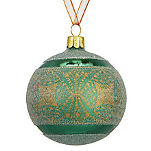 Buy John Lewis Ruskin House Frosted Batik Band Bauble, Green Online at johnlewis.com