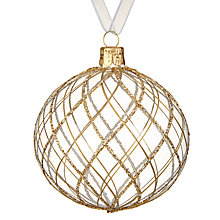 Buy John Lewis Ruskin House Trellis Bauble, Gold Online at johnlewis.com